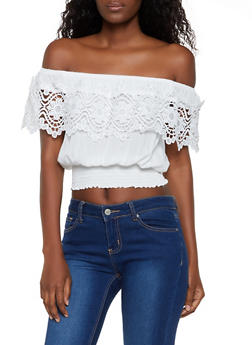 Crochet Detail Off the Shoulder Top - 3401069390947