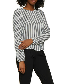 Striped Button Back Bubble Sleeve Blouse - 3401069390994