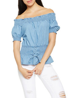 Smocked Off the Shoulder Chambray Top - 3401069391003