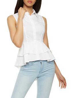 Tiered Peplum Button Front Shirt - 3401069391012