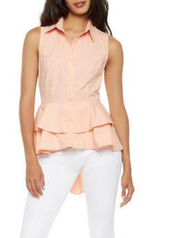 Tiered Peplum Button Front Shirt - 3401069391012