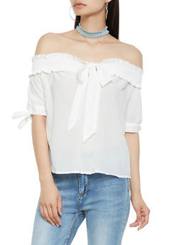 Smocked Tie Neck Off the Shoulder Top - 3401069391025