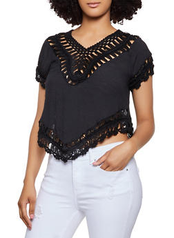 Crochet Trim Gauze Knit Top - 3401069391037