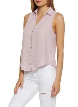 Sleeveless Button Front Shirt - 3401069391063