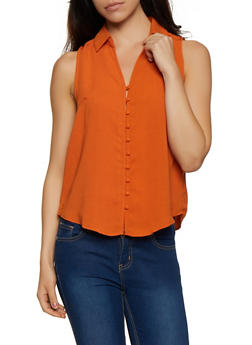 Sleeveless Button Front Shirt - 3401069391063