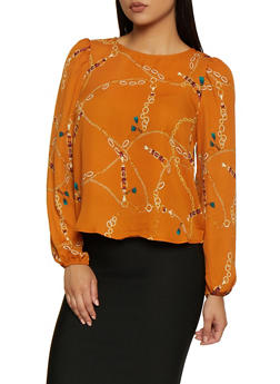 Chain Print Bubble Sleeve Blouse - 3401069391070