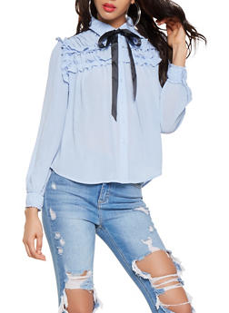 Ruffled Button Front Shirt - 3401069391079