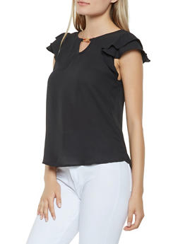 Crepe Knit Tiered Sleeve Blouse - 3401069391082