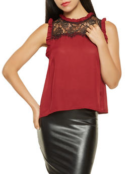 Lace Yoke Ruffle Trim Blouse - 3401069391091