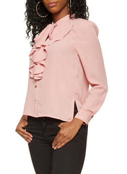 Ruffled Tie Neck Button Front Shirt - 3401069391110