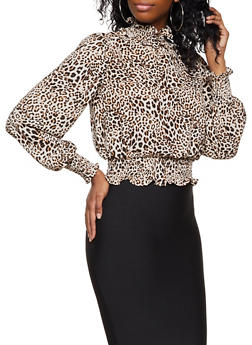 Smocked Trim Leopard Print Blouse - 3401069391133
