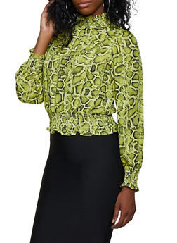 Snake Print Smocked Mock Neck Blouse - 3401069391134