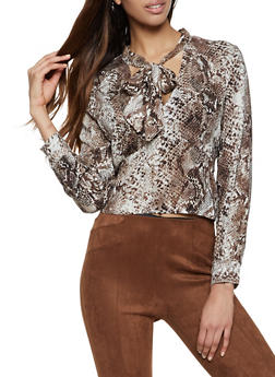 Snake Print Tie Neck Top - 3401069391136