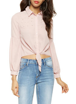 Faux Pearl Studded Tie Front Shirt - 3401069391171