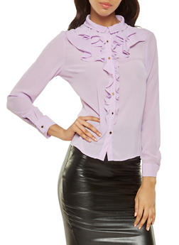 Ruffled Button Front Shirt - 3401069391190