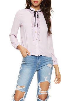Tie Neck Button Front Shirt - 3401069391198