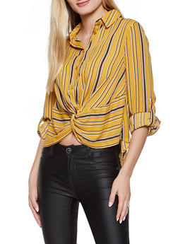 Vertical Stripe Twist Front Shirt - 3401069391262