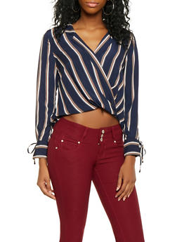 Striped High Low Faux Wrap Top - 3401069391270