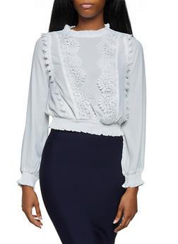 Smocked Crochet Detail Blouse - 3401069391401