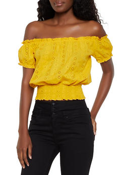 Eyelet Smocked Off the Shoulder Top - 3401069391487