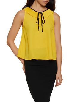 Pleated Collar Sleeveless Blouse - 3401069391503