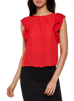 Pleated Ruffle Trim Blouse - 3401069391505