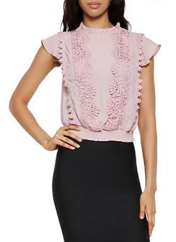 Crochet Detail Flutter Sleeve Blouse - 3401069391514