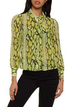 Snake Print Tie Neck Blouse - NEON LIME - 3401069391533