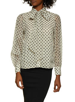 Polka Dot Tie Neck Blouse - 3401069391541