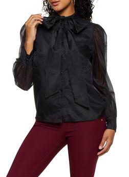 Solid Organza Tie Neck Shirt - 3401069391542
