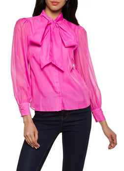 Solid Organza Tie Neck Shirt - 3401069391542
