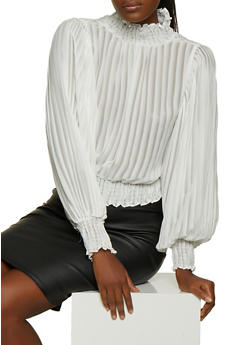 Pleated Smocked Trim Blouse - 3401069391548