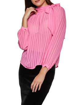 Shadow Stripe Tie Neck Blouse - 3401069391616