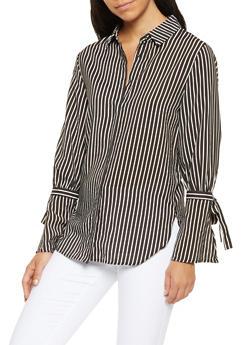 Striped Bell Sleeve Button Front Shirt - 3401069391910