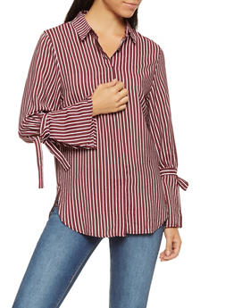 Striped Bell Sleeve Button Front Shirt - 3401069391910