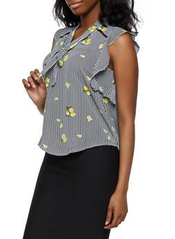 Lemon Print Tie Neck Blouse - Black - Size M - 3401069391981