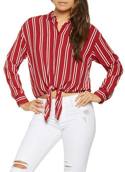 Striped Tie Front Shirt - 3401069392051