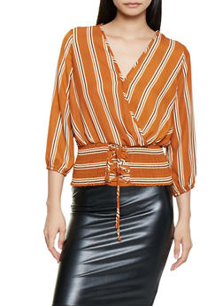 Striped Faux Wrap Lace Up Waist Top - 3401069392175