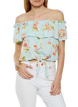 Gauze Knit Floral Off the Shoulder Top - 3401069392179