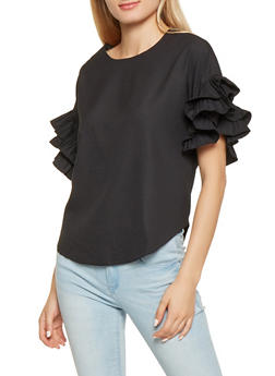 Pleated Tiered Sleeve Blouse - 3401069392189