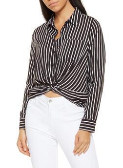 Striped Twist Front Shirt - 3401069392208