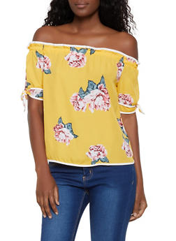 Floral Off the Shoulder Contrast Trim Top - 3401069392389