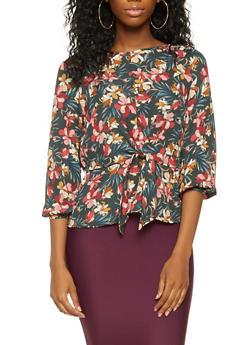 Floral Tie Front Blouse - 3401069392457