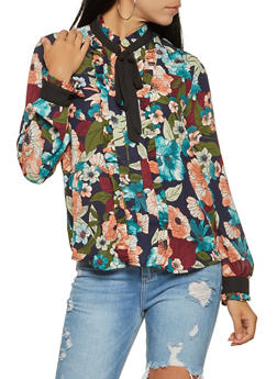 Printed Tie Neck Blouse - 3401069392466