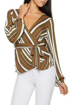 Striped Faux Wrap Top - 3401069392508
