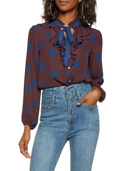 Polka Dot Tie Neck Shirt - 3401069392579