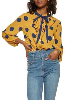 Polka Dot Tie Neck Shirt - 3401069392579