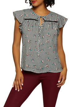 Checkered Floral Tie Neck Top - WHITE - 3401069392637