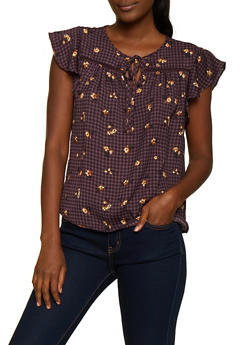 Checkered Floral Tie Neck Top - 3401069392637