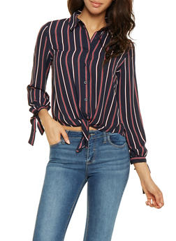Striped Tie Front Shirt - 3401069392653